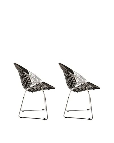 Manhattan Living Set of 2 Wire Diamond Chairs, Black