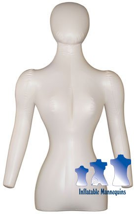 Inflatable Mannequin, Female Torso w/ Head & Arms, Ivory