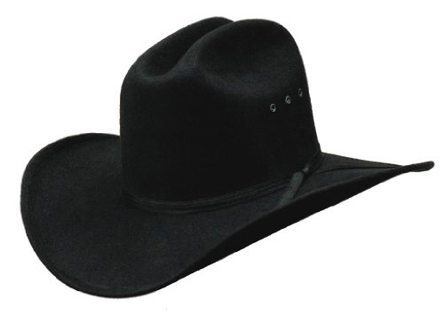 Kids Size All Black Faux Felt Cowboy Hat Elastic Band - Black