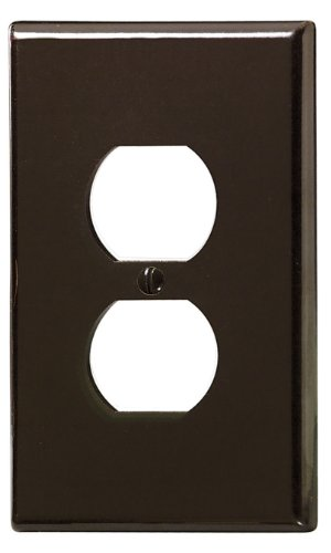 Leviton 85103 1-Gang Duplex Device Receptacle Wallplate, Oversized, Thermoset, Device Mount, Brown