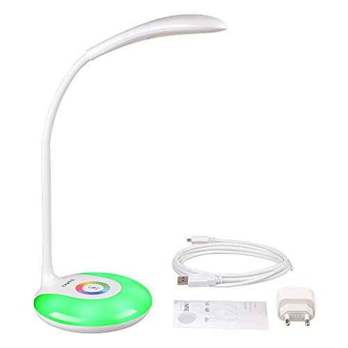 Onite Lampada LED da tavolo con Porta USB,Luce LED da lettura,Collo Flessibile, 3 Livelli Dimmerabili, Controllo Sensibile