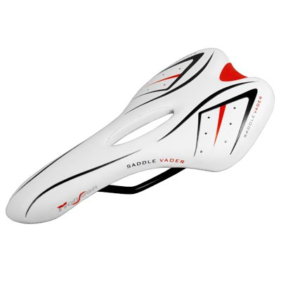 VADER Anatomic Relief Cycling White Vinyl Leather Bicycle Narrow Saddle MTB Road Sports Bike Seat Lightweight