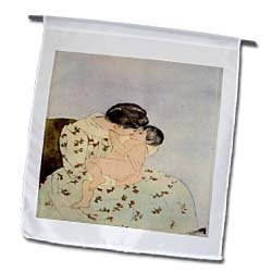 Florene Impressionism Art - Photo Of Painting The kiss By Mary Cassatt - Flags - 12 x 18 inch Garden Flag