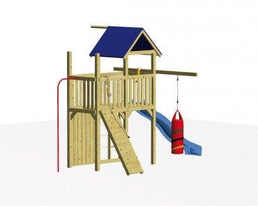 Winnetoo Spielturm Set 3 - Stelzenhaus inkl. Rutsche u. allen Schrauben und Bodenankern