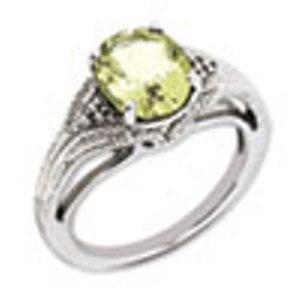 Sterling Silver Genuine Lemon Quartz & Diamond Ring