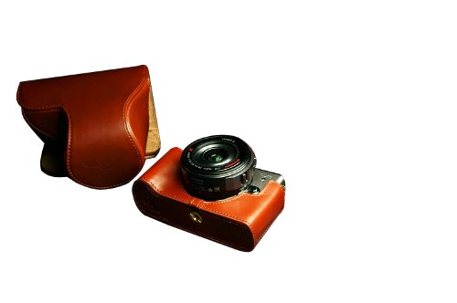 Tan Handmade Genuine Camera Full Leather Case Bag Cover for Panasonic Lumix GX1 with Biscuit Head or Prime lens... Black Friday & Cyber Monday 2014
