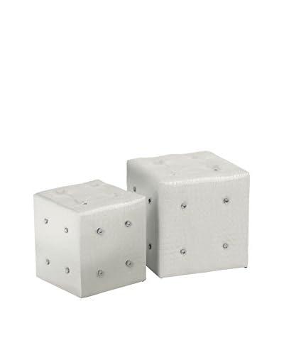 Premier Houseware Set Puff 2 Uds. 2403328 Blanco