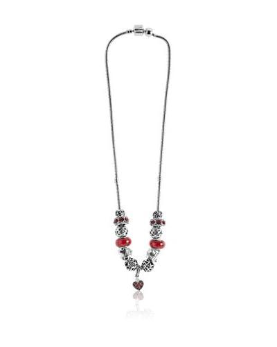 Diamond Style Collana Charm Red Heart Light Siam Crystal