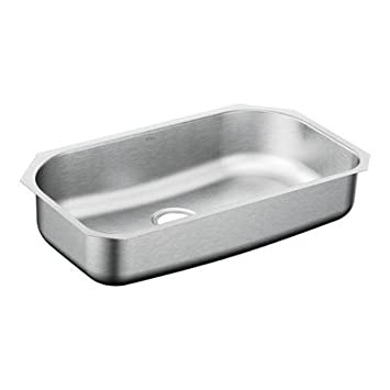 Moen G181631 1800 Series 18 Gauge Single Bowl Drop-In Sink, Stainless Steel