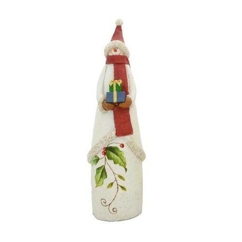 Fantastic Craft Snowman Holding Gift Figurine, 3 by 11-1/2-Inch