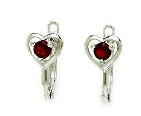 14ct White Gold January Birthstone Red3mm Round CZ Heart Leverback Earrings - Measures 12x5mm