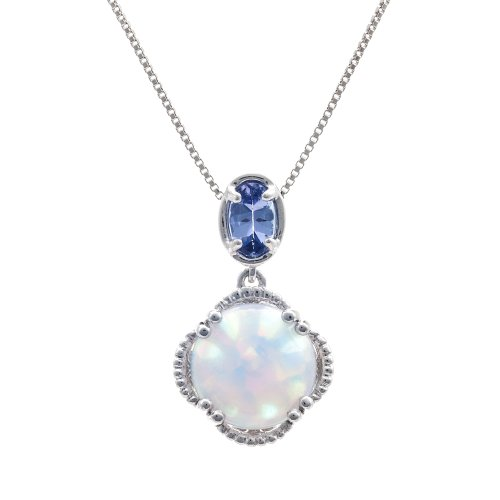 Sterling Silver Created Opal and Tanzanite Drop Pendant Necklace