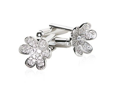 Gorgeous Diamond CZ Pave Silver Plated Flower Cufflinks with Gift Box