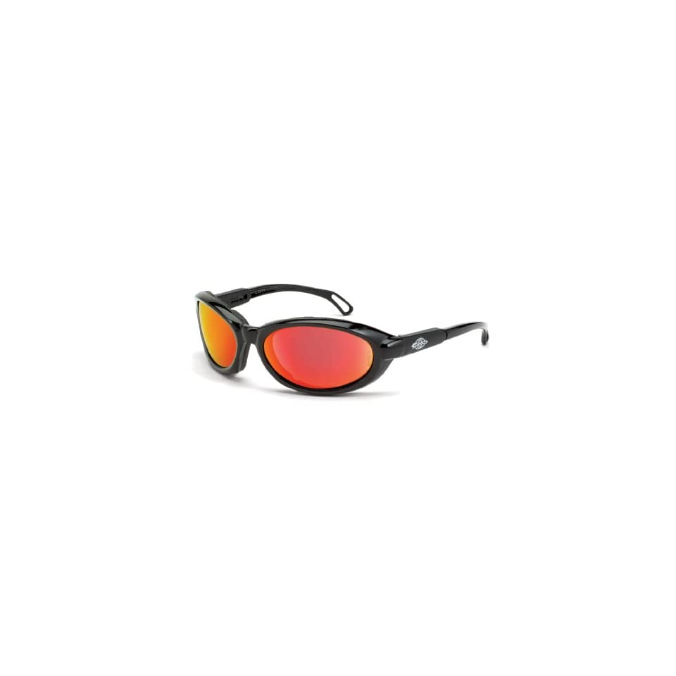 7846c0b0dc41e Crossfire Raptor Foam Lined Safety Glasses HD Red Mirror Lens Shiny Black  Frame 1169