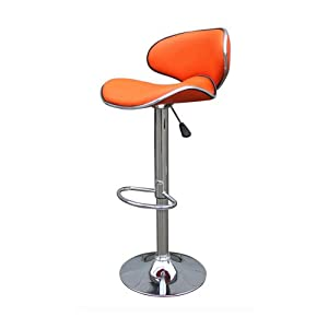 Tabouret de bar design simili cuir orange candem lot de 2 - Amazon tabouret de bar ...