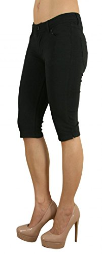 Colored Shorts Slim Soft Stretch Bermuda - Sexy, Cute Multiple Colors - Shade Black - Waist M