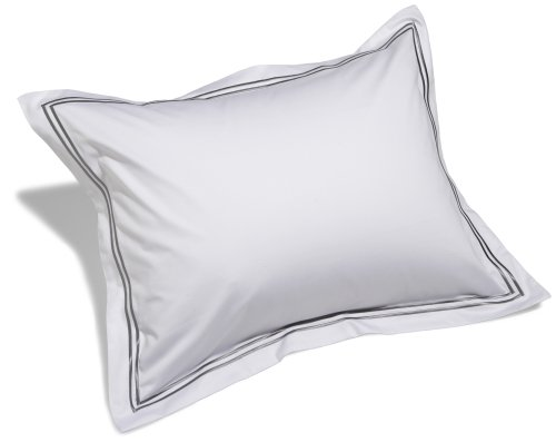 Cheap Pinzon Hotel Stitch 400-Thread-Count Egyptian Cotton Sateen Standard Sham, White with Silver G...