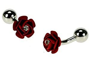 Crystal Decorated Red Rose Cufflinks & Gift Pouch