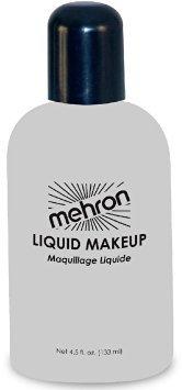 Mehron Liquid Makeup WHITE for Face, Body & Hair 4.5 oz