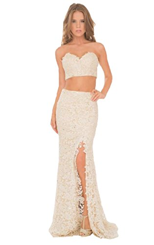 dcbd6de1804d Keting Women's Sweetheart Applique Lace Two Piece High Split Beach Wedding  Dress Ivory US2