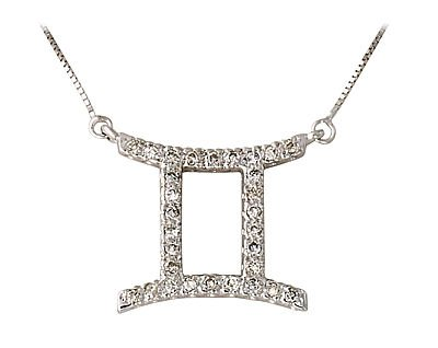 White Gold Diamond Gemini Zodiac Pendant