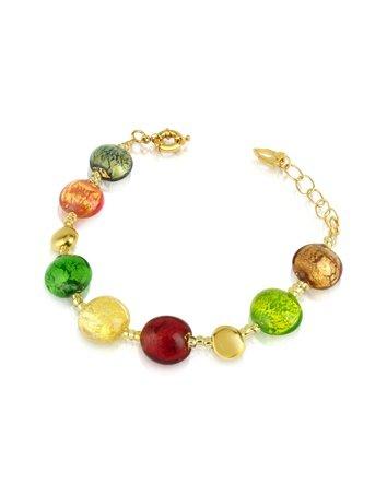 Antica Murrina Frida - Murano Glass Bead Bracelet Multicolor Gold
