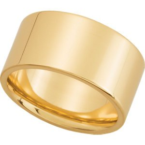 18K Yellow Gold Flat Comfort Fit Wedding Band - Size 10: 10 mm