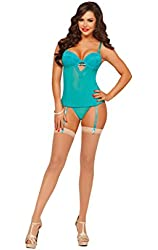 Seven Til Midnight Women's Teal Appeal Mesh and Lace Bustier and Thong Set