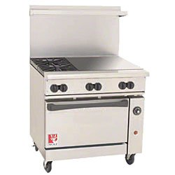 36€ Gas Open Burner/Griddle Top Restaurant Range - Challenger Xl Serie - Wolf C36-C-2B-24Gt-N