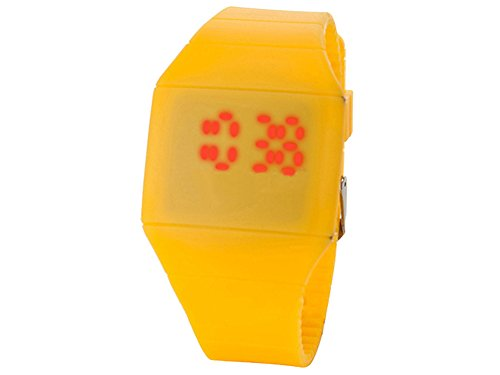 Moonar®Unisex Ultra Thin Cool Red Led Touch Screen Digital Display Rubber Wrist Watch(Yellow)