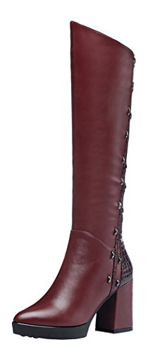 Guciheaven Women Winter New Style Metal Decorative Rough Heels Biker High Boots(6 B(M)Us, Red)