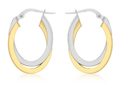 9ct Two Colour Gold Oval Crossover Creole Earrings
