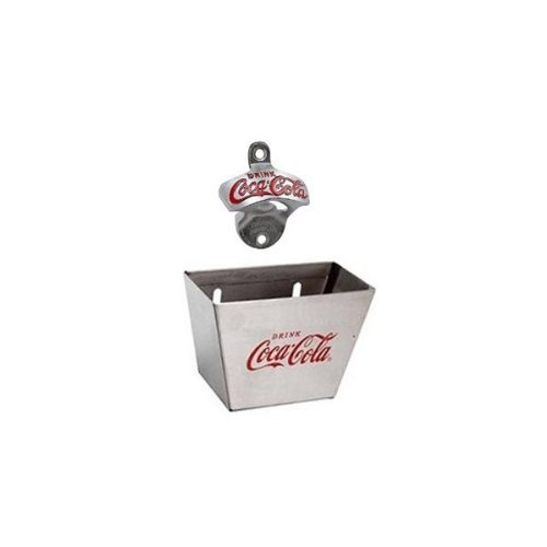 1 X Coca Cola Wall Mount Bottle Opener and Coca Cola (Coke) Bottle Cap Catcher Set by Tablecraft