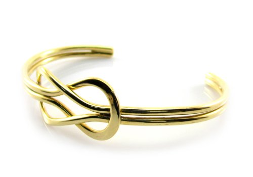 MGD, 15 MM Wide Golden Knot Polished Cuff Bracelet, Double Wire Gold Tone Brass Metal Bracelets, Adjustable Bangle One Size Fit All, Fashion Jewelry for Women, Teens and Men, JE-0030B