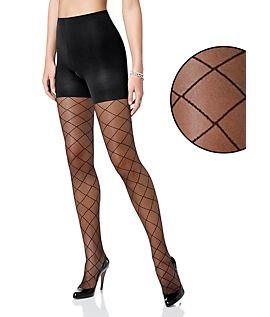 Control Top Diamond Patterned Pantyhose