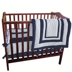 Navy And White Crib Bedding 7568 front