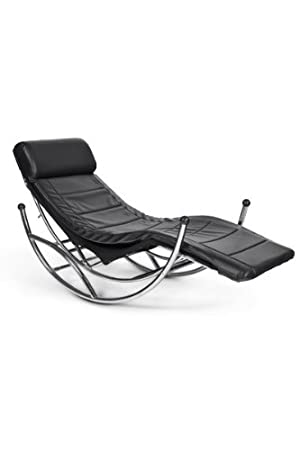 Casa Padrino Design lounge rocking chair rocking chair rocking reclining rocking Black / Chrome