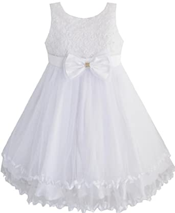 Amazon.com: Sunny Fashion Little Girls' Dress White Pearl Tulle Layers