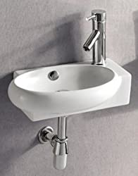 ELANTI EC9888-L Porcelain White Wall-Mounted Oval Left-Facing Sink