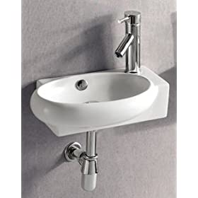 ELITE SINKS EC9888-L Porcelain White Wall-Mounted Oval Left-Facing Sink