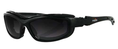 Bobster Road Hog Ii Prescription Ready Sunglasses,Black Frame/4 Lenses (Dual Grade Reflective/Smoked/Amber And Clear),One Size