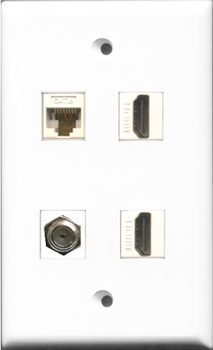 Riteav - 2 Port Hdmi And 1 Port Coax Cable Tv- F-Type And 1 Port Cat6 Ethernet White Wall Plate