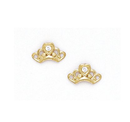 14K Yellow white baby Crown Earring
