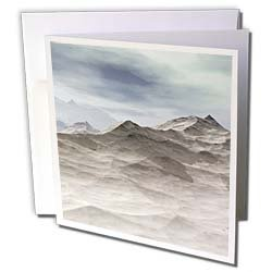 Perkins Designs Nature Frozen World ice and snow cover the frozen baron tundra of this fantasy landscape Greeting Cards 6 Greeting Cards with envelopes