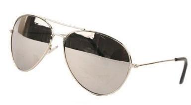 Occhiali da sole specchiati modello aviatore stile retrò, colore argento metallizzato, con sacchetto con chiusura a cordoncino, unisex, protezione UV 400