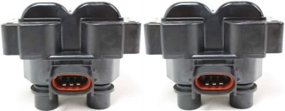 Evan-Fischer EVA13872064851 Ignition Coil Set of 2 Standard Type pack 1 for 4-cylinder engine and coils 8-cylinder 12 volts blade 3-prong male terminal Differential mounting location (92 Ford Ranger Coil Pack compare prices)