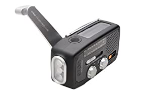 Etón NFR160WXB Microlink Self-Powered AM/FM/NOAA Weather Radio with Flashlight, Solar Power and Cell Phone Charger (Black)