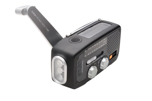 Etón FR160B Microlink Self-Powered AM/FM/NOAA Weather Radio with Flashlight, Solar Power and Cell Phone Charger (Black)