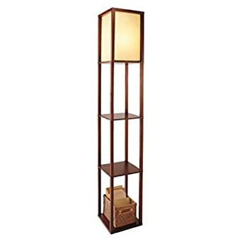 three shelf floor lamp walnut with ivory shade 63 tall amazon. Black Bedroom Furniture Sets. Home Design Ideas