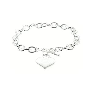 Designer Inspired Silver Heart Charm Toggle Bracelet Links Of Love